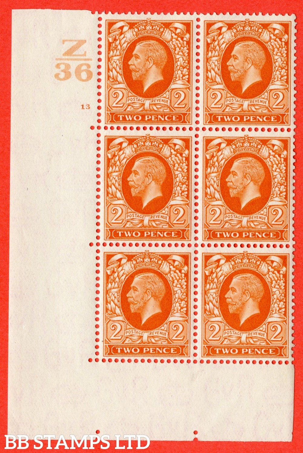 """SG. 442 variety N55. 2d. Orange. A fine lightly mounted mint  """" Control Z36 cylinder 13 no dot """" control block of 6 with perf type 5 (E/I)."""
