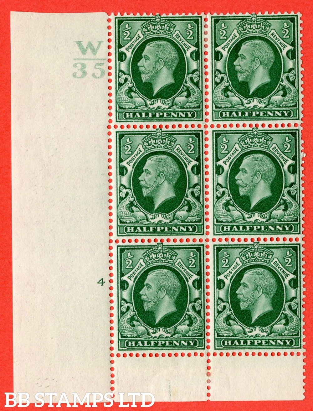 "SG. 439 variety N46 ½d. Green. A fine lightly mounted mint "" Control V34 cylinder 4 no dot "" control block of 6 with perf type 6 (I/P)."