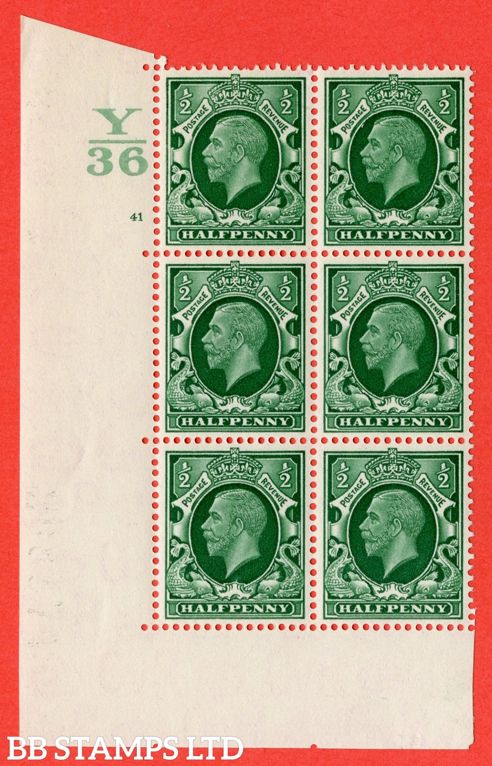 "SG. 439 variety N46 ½d. Green. A superb UNMOUNTED MINT "" Control Y36 cylinder 41 no dot "" control block of 6 with perf type 5 (E/I)."