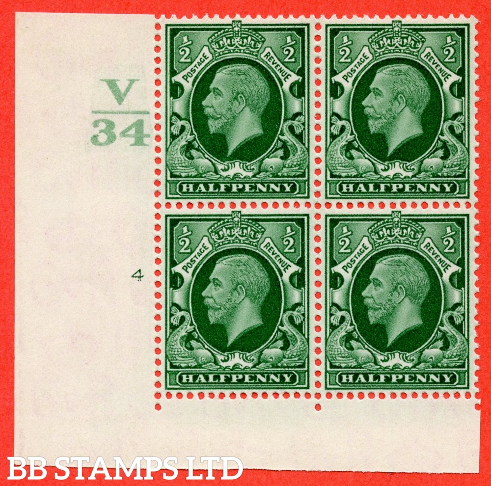 "SG. 439 variety N46 ½d. Green. A superb UNMOUNTED MINT "" Control V34 cylinder 4 no dot "" control block of 4 with perf type 2 (I/E)."