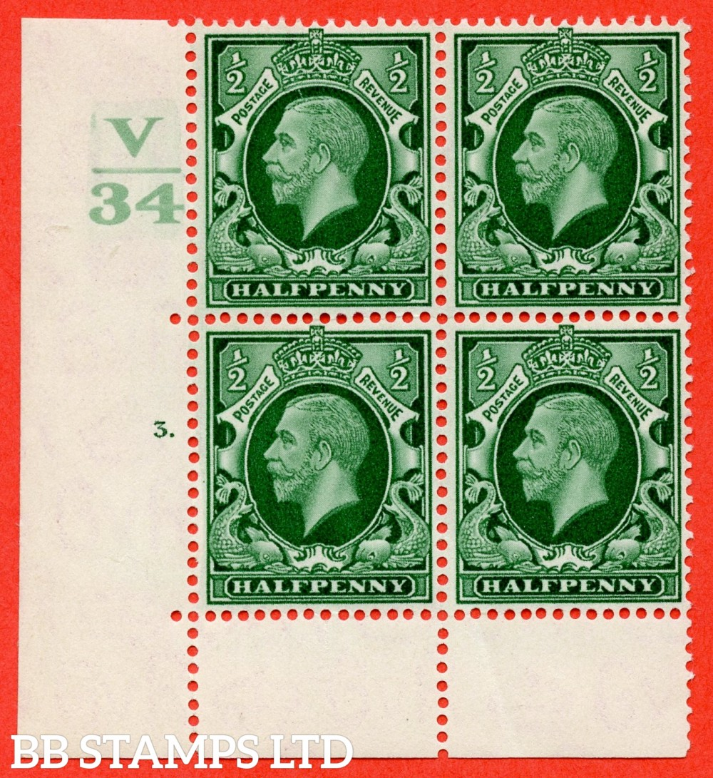"SG. 439 variety N46 ½d. Green. A fine lightly mounted mint "" Control V34 cylinder 3 dot "" control block of 4 with perf type 6B (E/P)."