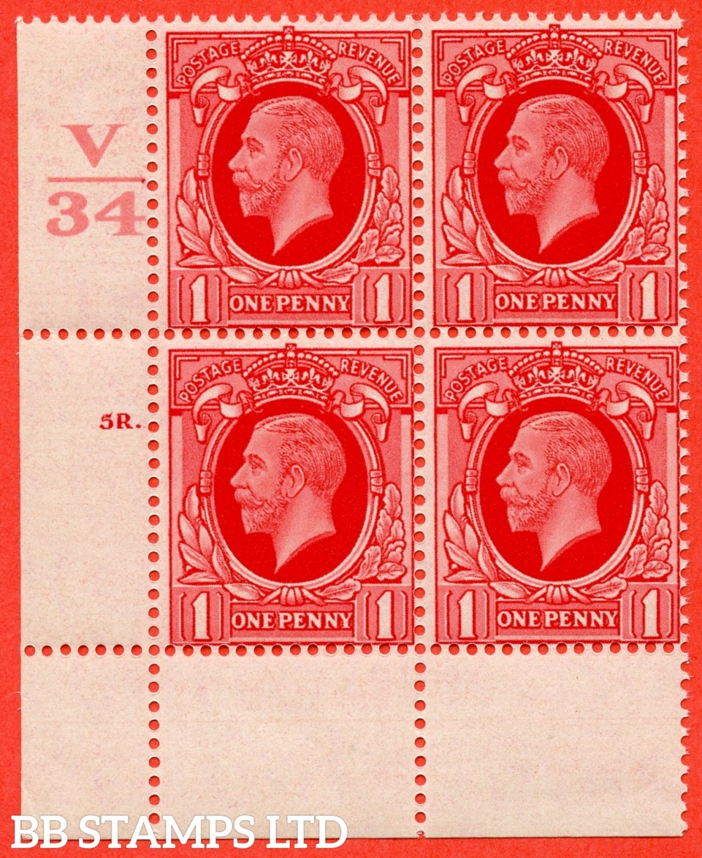 "SG. 440 variety N48. 1d scarlet.. A fine lightly mounted mint "" Control V34 cylinder 5R dot "" block of 4 with perf type 2A (P/P)."