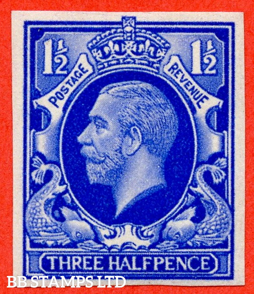 SG. 441 variety.1934 Photogravure 1½d Ultramarine Colour Trial. A very fine mounted mint example.