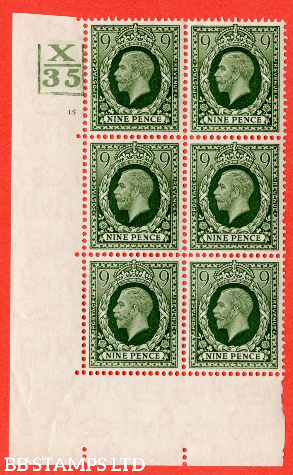 """SG. 447. N60. 9d Deep Olive-Green. A fine mounted mint. """" Control X35. 3 Bars. Cylinder 15 no dot """" block of 6 perf type 5 (E/I)."""