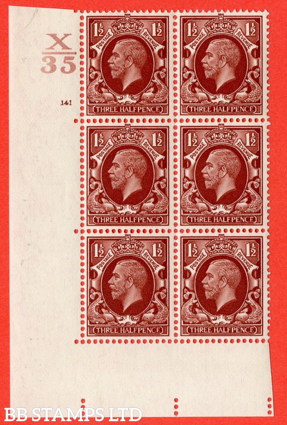 "SG. 441 variety N53. 1½d Red-Brown. A superb UNMOUNTED MINT "" Control X35 cylinder 141 no dot "" control block of 6 with perf type 5 (E/I)."