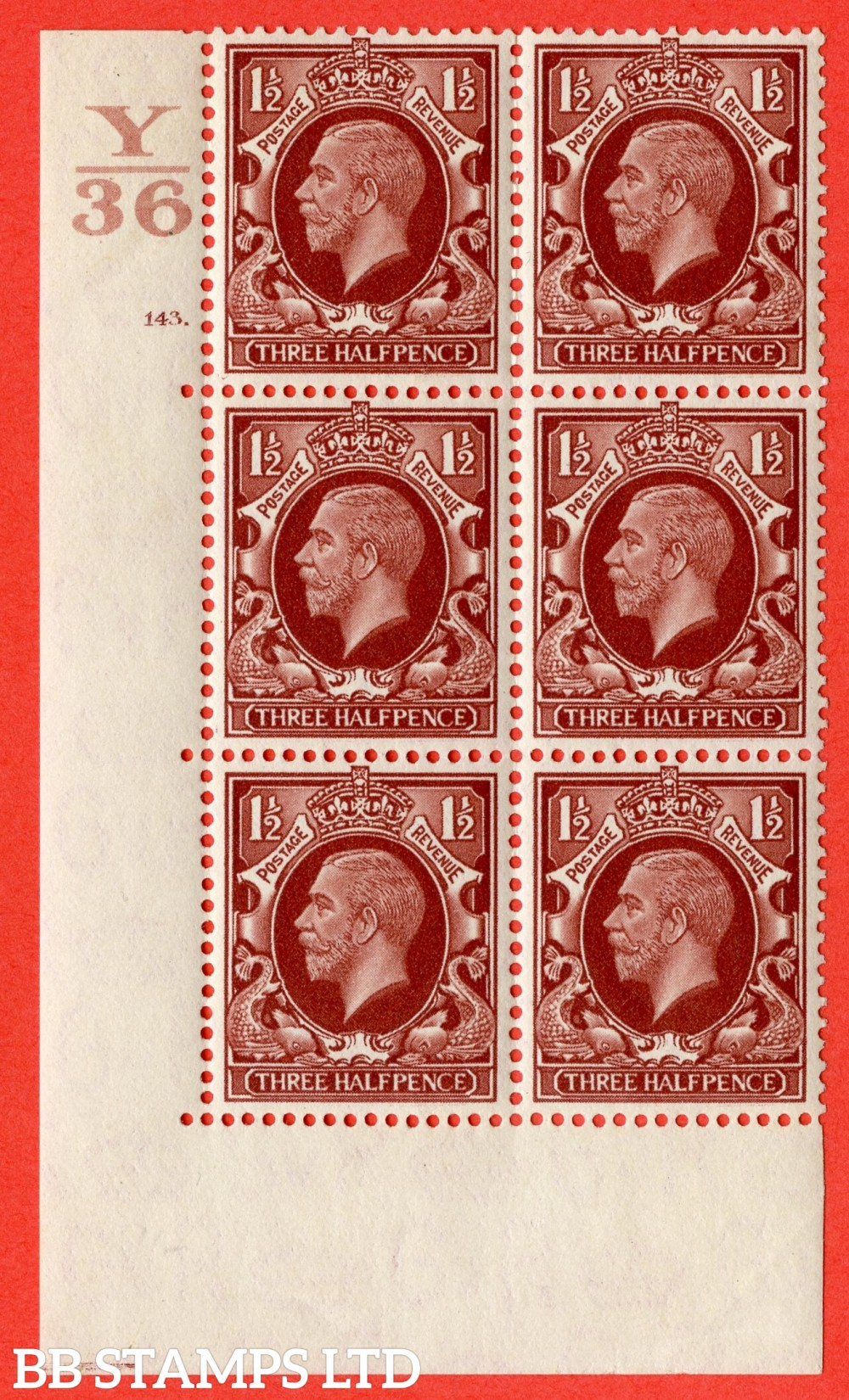 """SG. 441 variety N53. 1½d Red-Brown. A fine lightly mounted mint """" Control Y36 cylinder 143 (i) dot """" control block of 6 with perf type 5 (E/I)."""