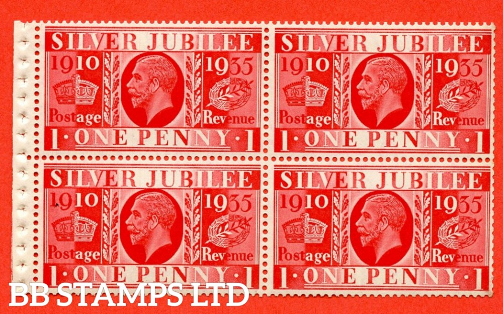454a NcomB6 1d Complete booklet pane of 4. UNMOUNTED MINT.1935 Silver Jubilee. Type III. Good Perfs.