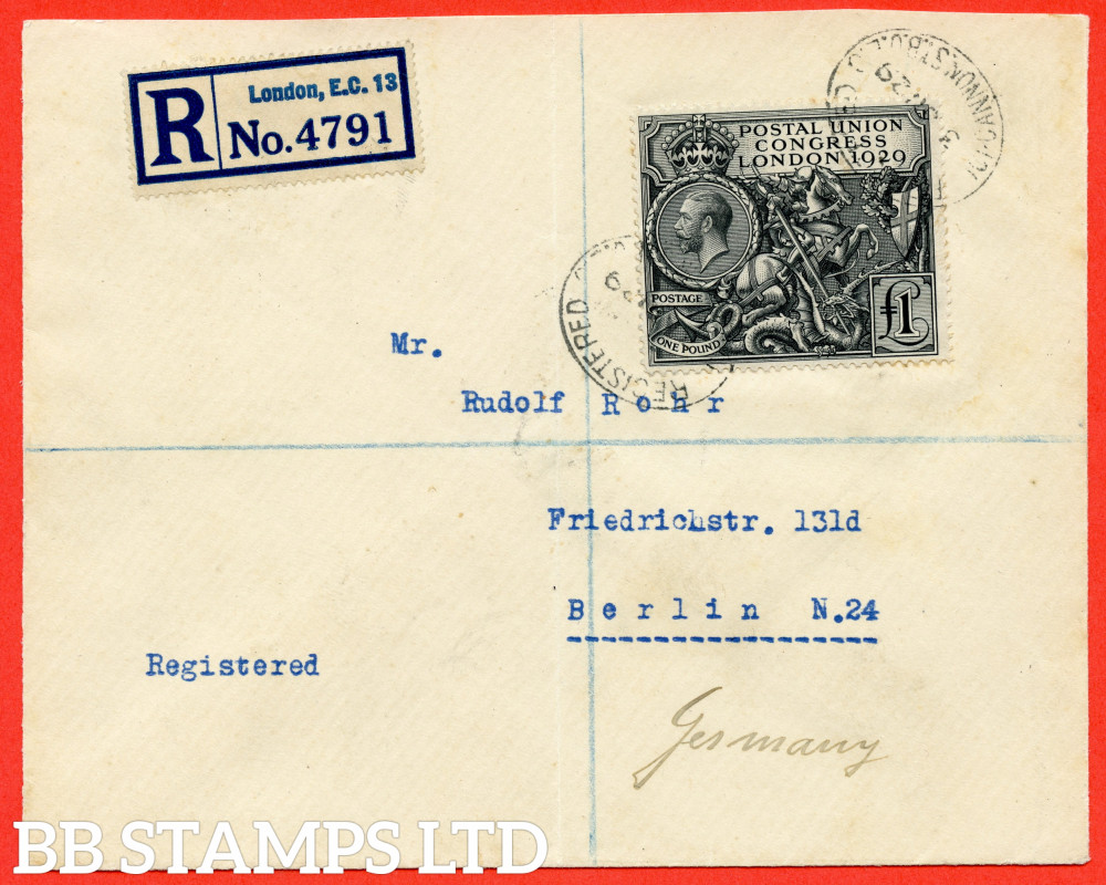 """SG. 438. NCom9. £1.00 Postal Union Congress. A fine """" 3rd June 1929 Cannon Street """" used example on cover to GERMANY."""