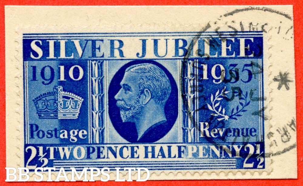 "SG. 456a. NCom14. 2½d Silver Jubilee "" Prussian Blue "".  A superb "" 4th July 1935 WESTMEAD "" CDS used example of this RARE George V shade ERROR complete with BRANDON certificate. A VERY RARE stamp in fine used condition."