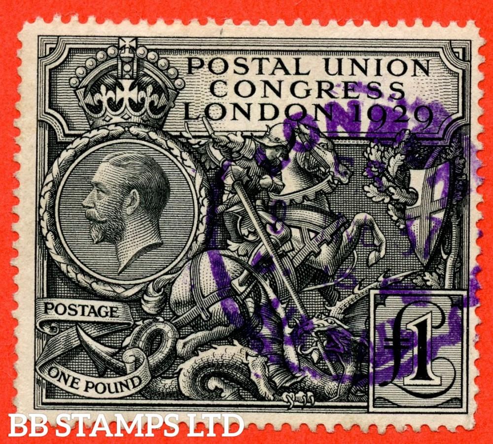 "SG. 438. NCom9. £1.00 Postal Union Congress. A good "" LONDON "" used example."