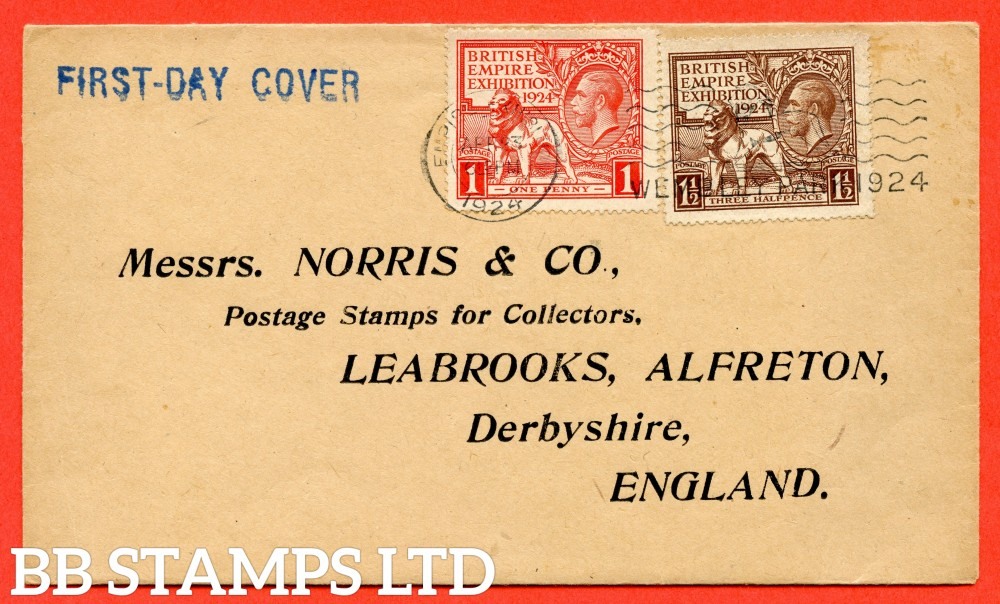 "SG. 430 - 431. NCom1 - NCom2. 1d scarlet & 1½d brown. A very fine FIRST DAY COVER cancelled by a "" 23rd April 1924 WEMBLEY PARK "" slogan."