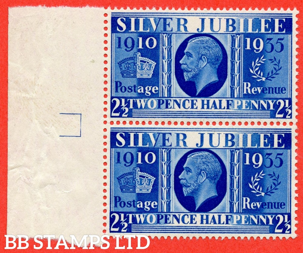 "SG. 456a. 2½d Silver Jubilee "" Prussian Blue "".  A Superb UNMOUNTED MINT left hand marginal vertical pair of this difficult George V shade ERROR complete with BPA certificate.  Complete with marginal dividing box in margin and probably unique."