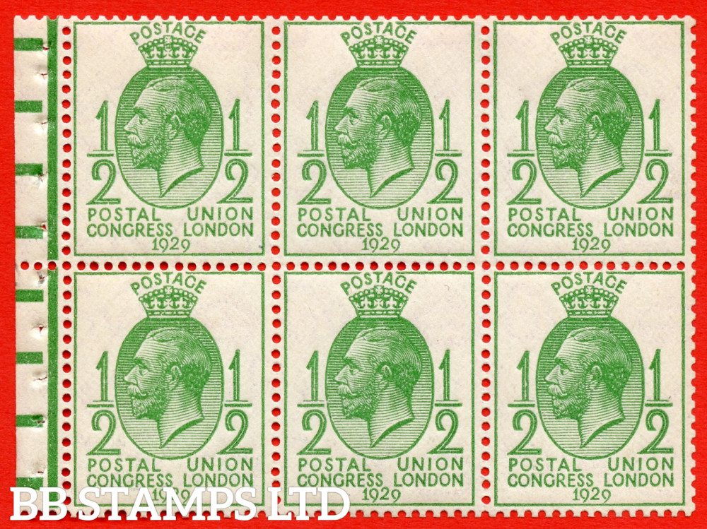 434b NcomB1 ½d Complete booklet pane of 6. UNMOUNTED MINT. With horizontal bars. 1929 PUC. Perf type P. Good Perfs.