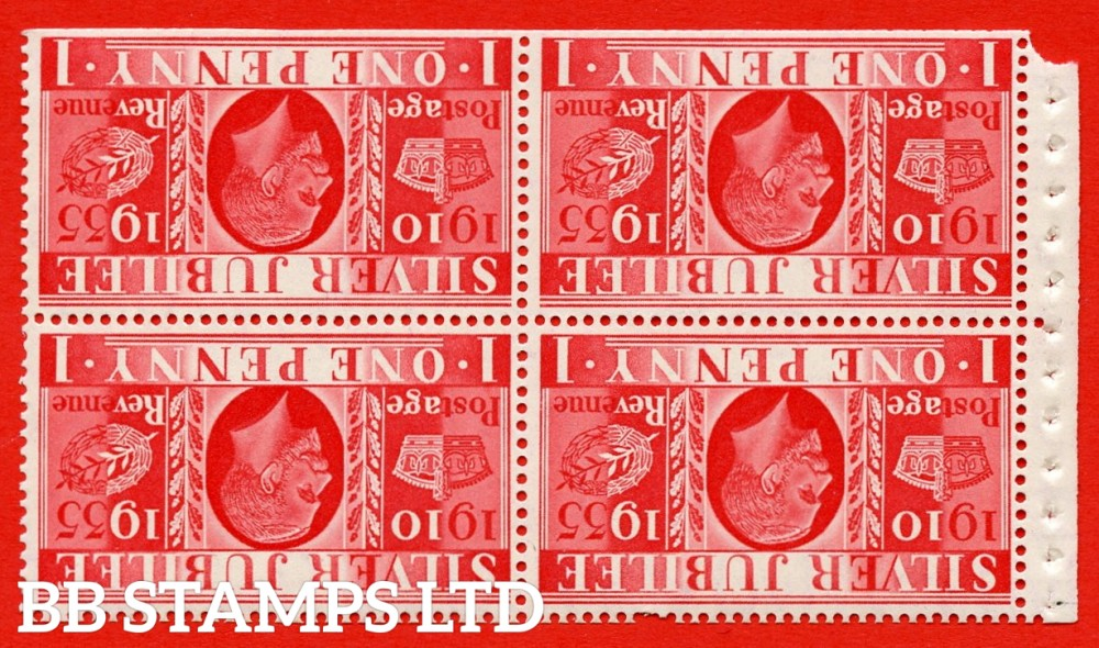454aw NcomB6a 1d Complete booklet pane of 4. UNMOUNTED MINT. INVERTED WATERMARK.1935 Silver Jubilee. Type II. Trimmed Perfs.