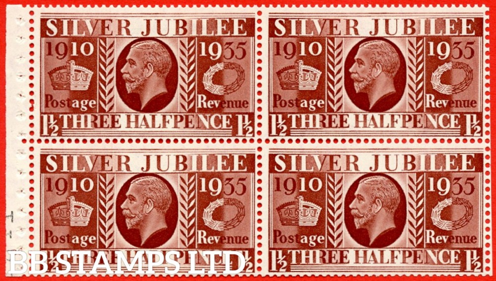 455a NcomB7 1½d Complete Cylinder pane of 4 30 No Dot. MOUNTED MINT. 1935 Silver Jubilee. Type III. Good Perfs.