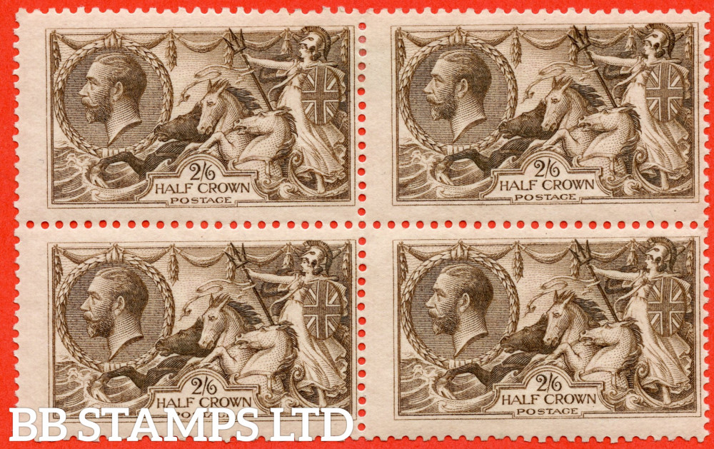 SG. 413a. N65 (1). 2/6 Olive - Brown. A fine mint ( 2 stamps UNMOUNTED MINT ) block of 4.