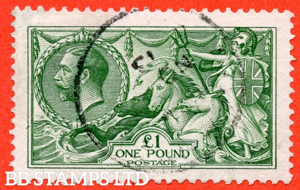 """SG. 403. N72 (1). £1.00 Green. A very fine """" November 1913 """" CDS used example of this beautiful George V high value."""