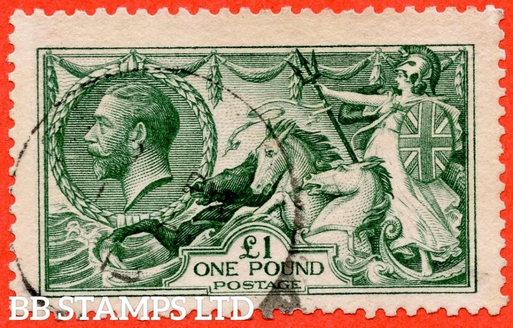 SG. 404. N72 (3). £1.00 Dull blue green. A fine used example of this beautiful George V high value.