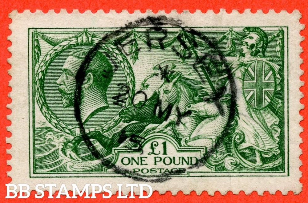 """SG. 403. N72 (2). £1.00 Deep green. A very fine """" 20th May 1915 JERSEY """" CDS used example of this beautiful George V high value."""