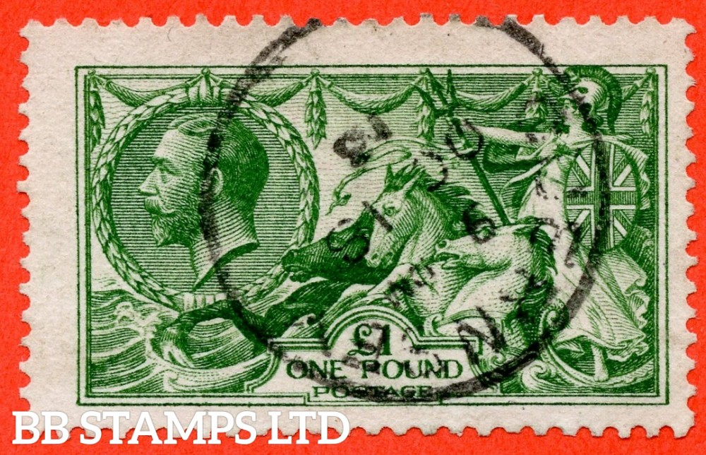 """SG. 403. N72 (2). £1.00 Deep green. A very fine """" October 18th 1913 GUERNSEY """" CDS used example of this beautiful George V high value."""