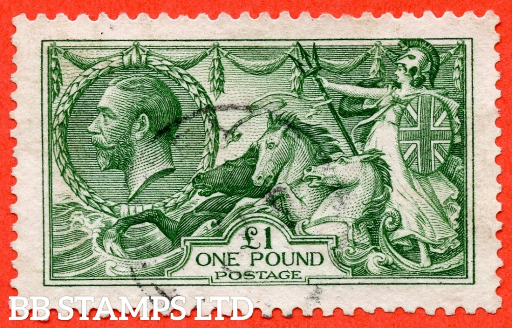 SG. 403. N72 (2). £1.00 Deep green. A very fine used example of this beautiful George V high value.