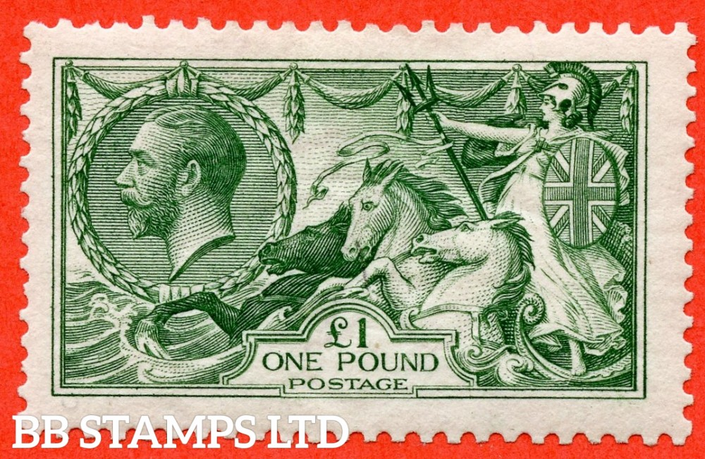 SG. 403. N72 (1). £1.00 Green. A very fine lightly mounted mint example of this beautiful George V high value.