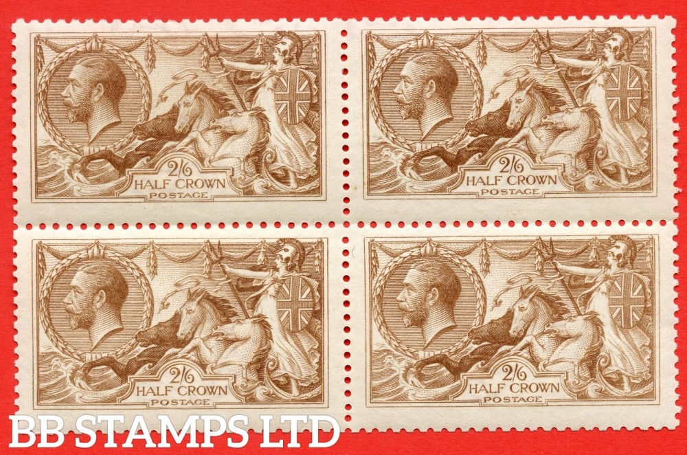 SG. 406 variety N64 (9). 2/6 Cinnamon - Brown. A superb UNMOUNTED MINT block of 4 of this scarce Seahorse shade complete with BPA certificate.