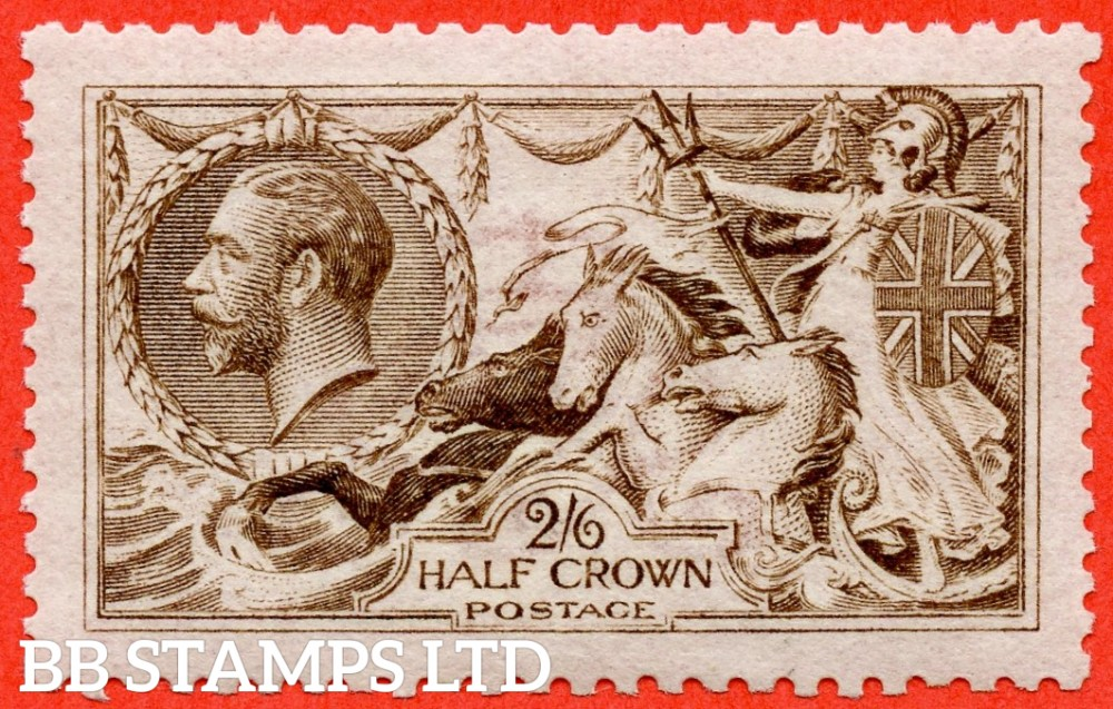 SG. 406 variety N64 (10). 2/6 brown. A very fine UNMOUNTED MINT example of this RARE newly listed Seahorse shade variety. Complete with Brandon certificate.