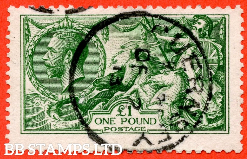 """SG. 403. N72 (2). £1.00 Deep green. A fine """" December 2nd 1913 GUERNSEY """" CDS used example of this beautiful George V high value."""