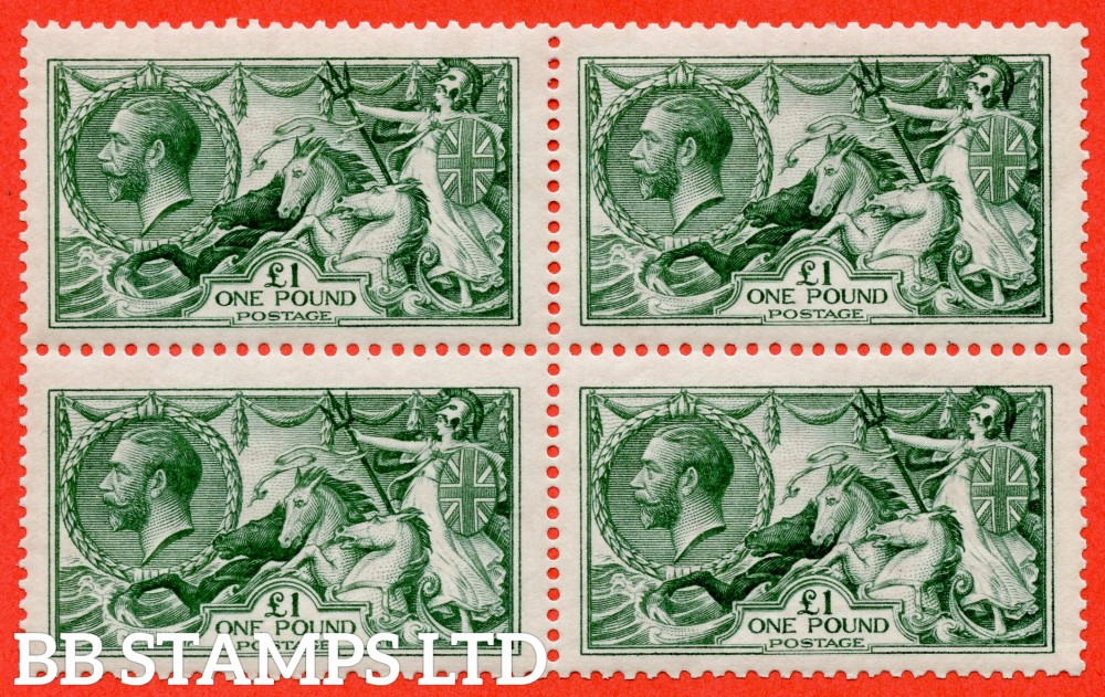 SG. 404. N72 (3). £1.00 Blue green. A very fine UNMOUNTED MINT ( mounted in the margin only ) top left hand corner marginal block of 4 of this beautiful George V high value.