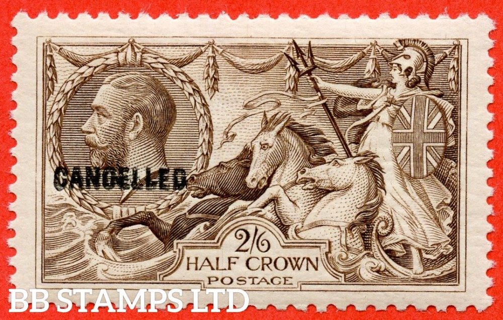 SG. 414. N65 (3) zd. 2/6 Chocolate - brown. A very fine UNMOUNTED MINT example overprinted CANCELLED type 33.
