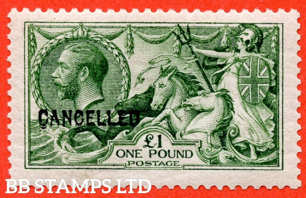 SG. 403. N72 (1). £1.00 Green. A superb UNMOUNTED MINT example of this beautiful George V high value overprinted CANCELLED type 24.