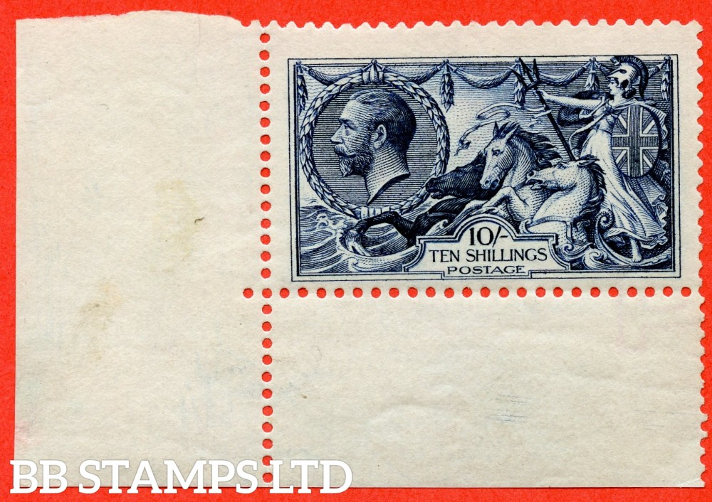 SG. 402. N69 (). 10/- Indigo Blue. A very fine UNMOUNTED MINT bottom left hand corner marginal example complete with RPS certificate.