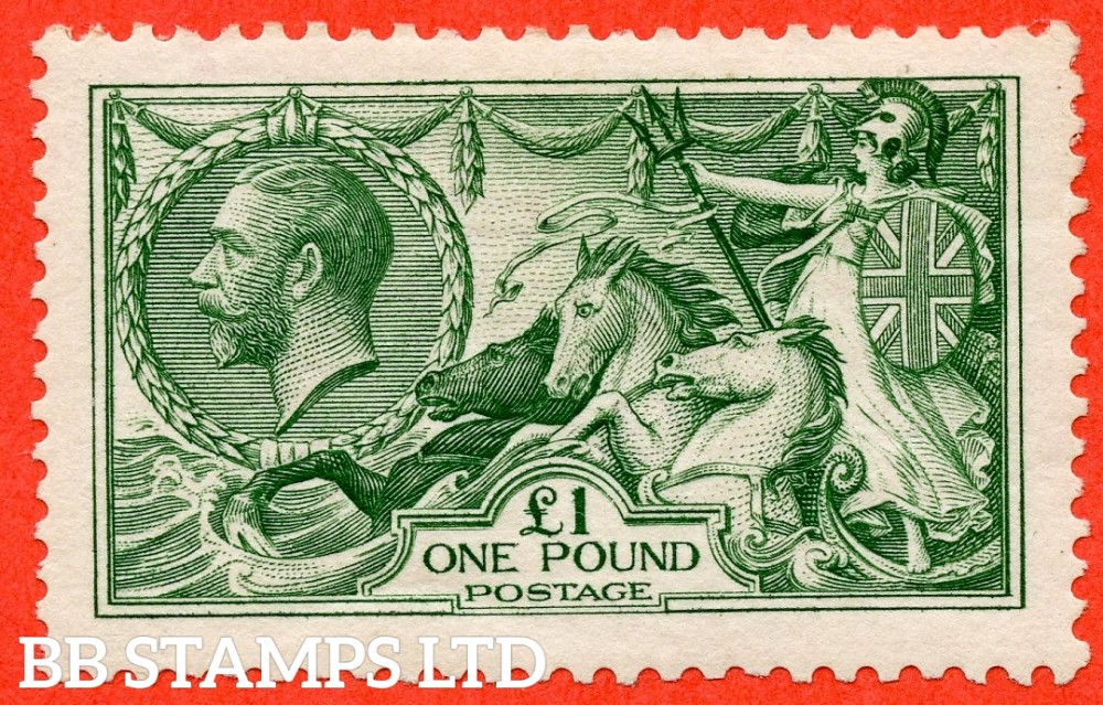 SG. 403. N72 (1). £1.00 Green. A very fine mounted mint example of this beautiful George V high value.