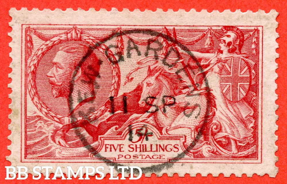 """SG. 401 variety N66 (3). 5/- Carmine - red. A superb """" 11th September 1914 KEW GARDENS """" CDS used example."""