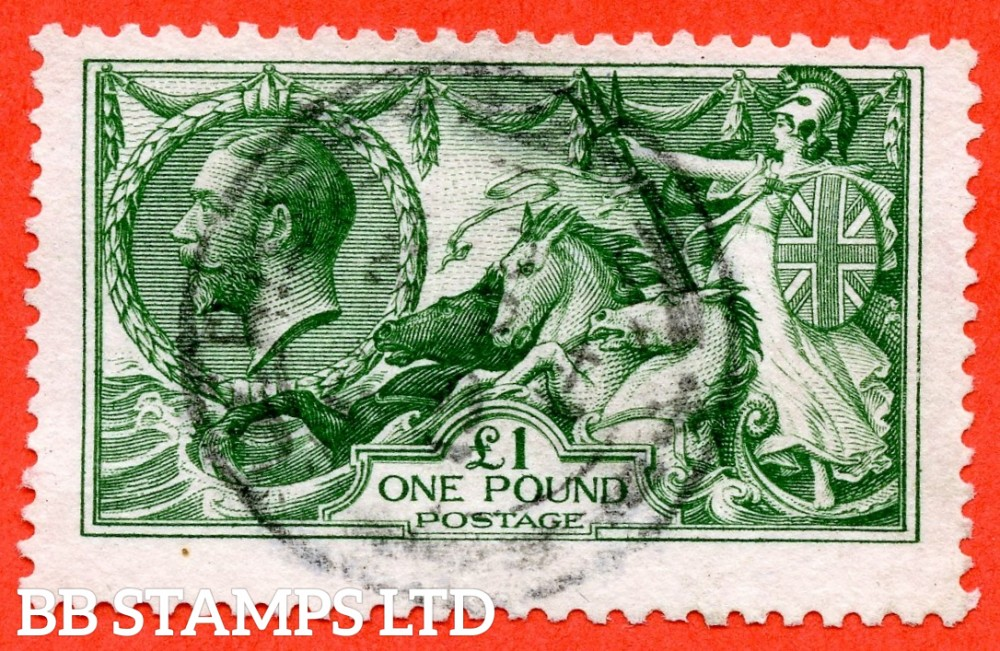 SG. 403. N72 (1). £1.00 Green. A very fine used example of this beautiful George V high value.
