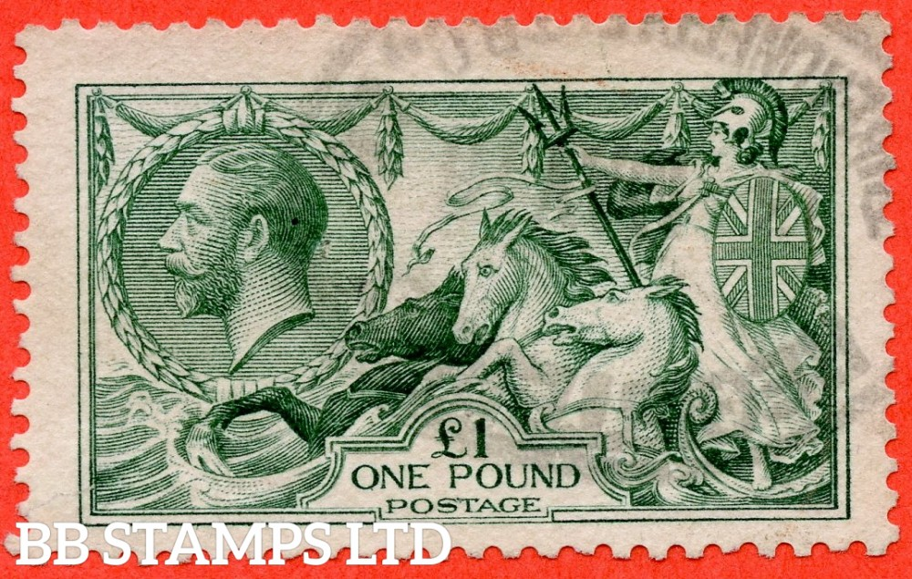 SG. 404. N72 (3). £1.00 Dull blue green. A good used example of this beautiful George V high value.