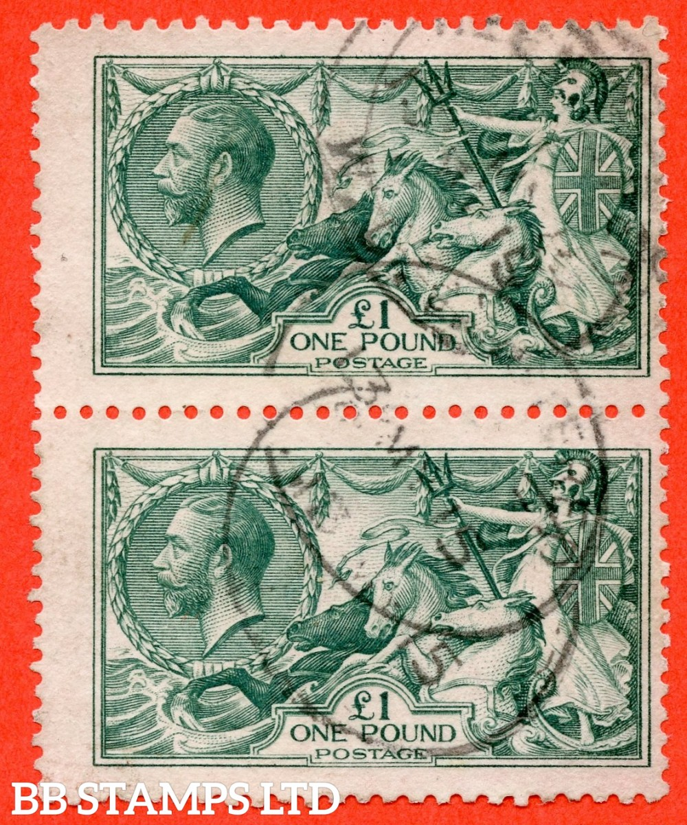 "SG. 404. N72 (3). £1.00 Dull blue green. A fine "" 13th March 1915 "" CDS used vertical pair example of this beautiful George V high value."