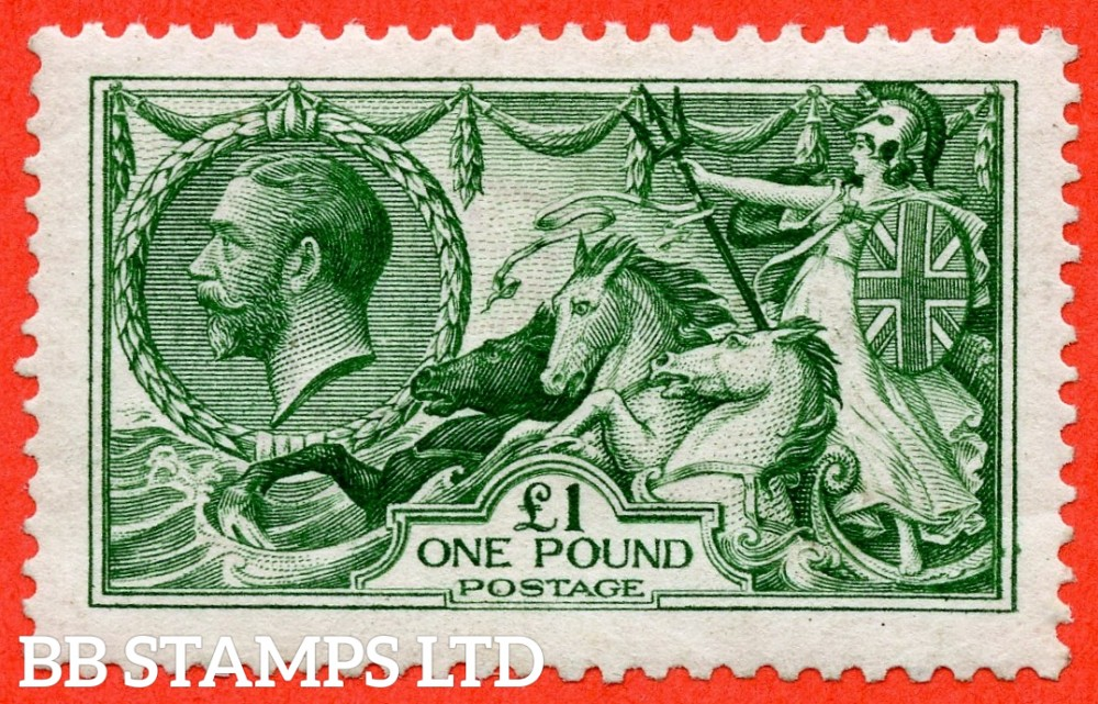 SG. 403. N72 (2). £1.00 Deep green. A fine lightly mounted mint example of this beautiful George V high value.
