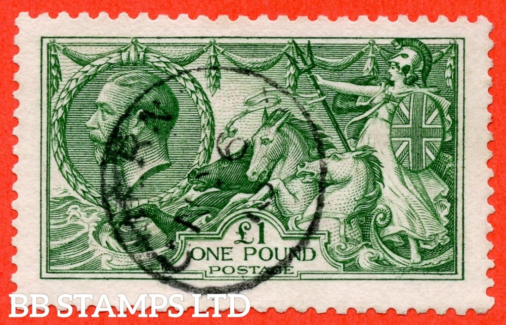 """SG. 403. N72 (1). £1.00 Green. A very fine """" November 16th """" CDS used example of this beautiful George V high value."""