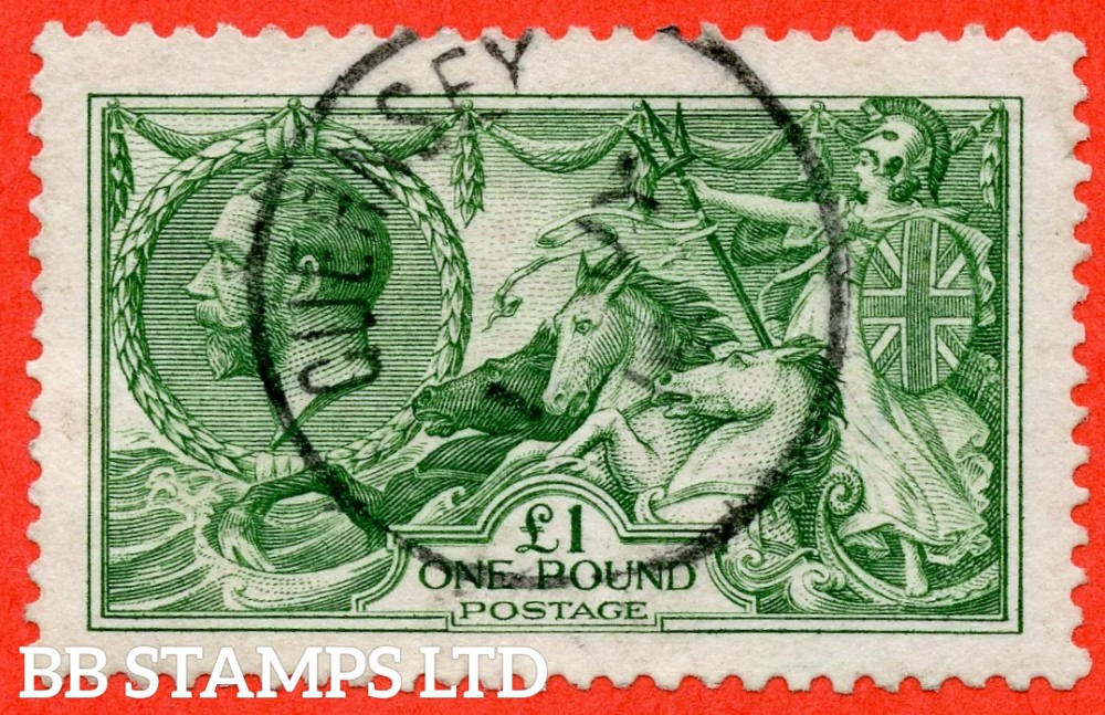 "SG. 403. N72 (1). £1.00 green. A very fine "" 1st July GUERNSEY "" CDS used example."
