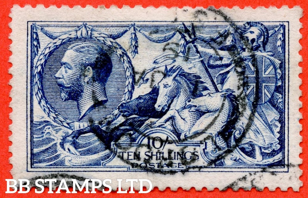 "SG. 411. N70 (2). 10/- deep - blue. A very fine "" 1st January 1919 LONDON "" CDS used example complete with RPS certificate."