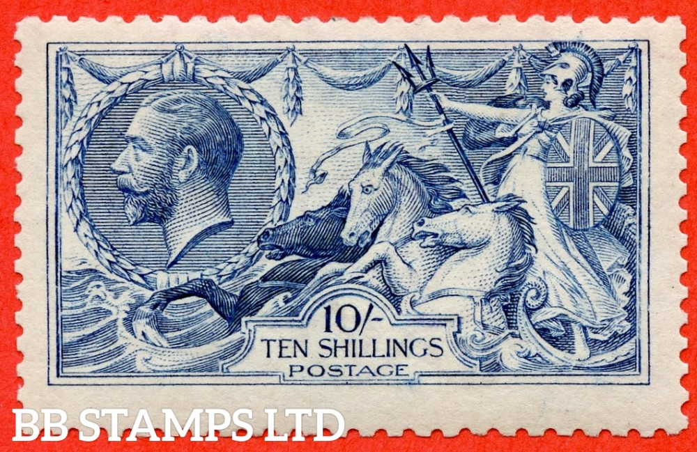 SG. 412. N70 (1). 10/- blue. A very fine UNMOUNTED MINT example of this very difficult Seahorse shade. Complete with RPS certificate.