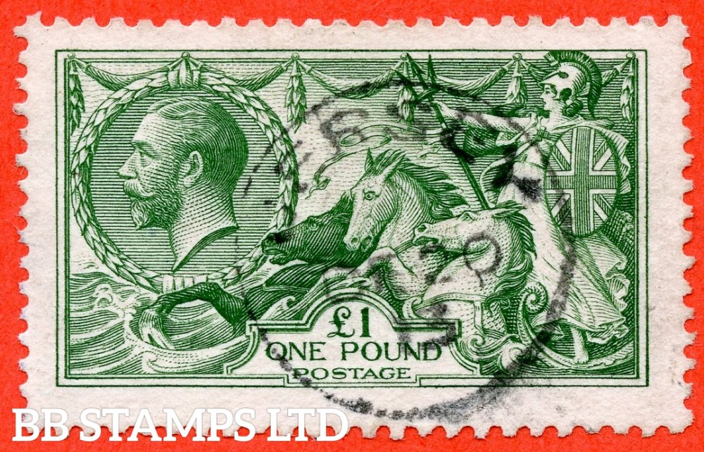"""SG. 403. N72 (1). £1.00 Green. A very fine """" December 20th 1913 JERSEY """" CDS used example of this beautiful George V high value."""