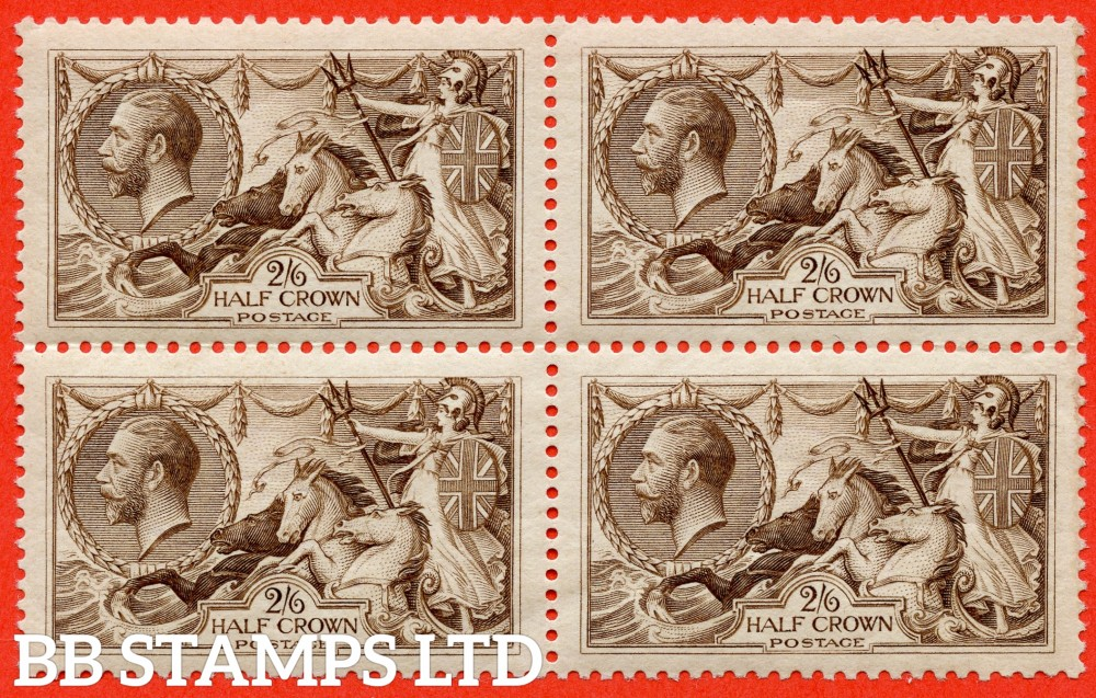 SG. 414. N65 (3). 2/6 chocolate - brown. A fine UNMOUNTED MINT block of 4 complete with RPS certificate.