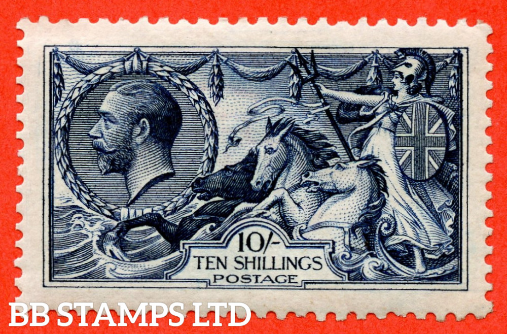 SG. 402 variety N69 (2). 10/- Indigo. A very fine UNMOUNTED MINT example.