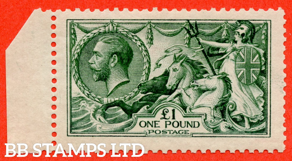 SG. 404. N72 (3). £1.00 Blue Green. A very fine UNMOUNTED MINT left hand marginal example of this beautiful George V high value.