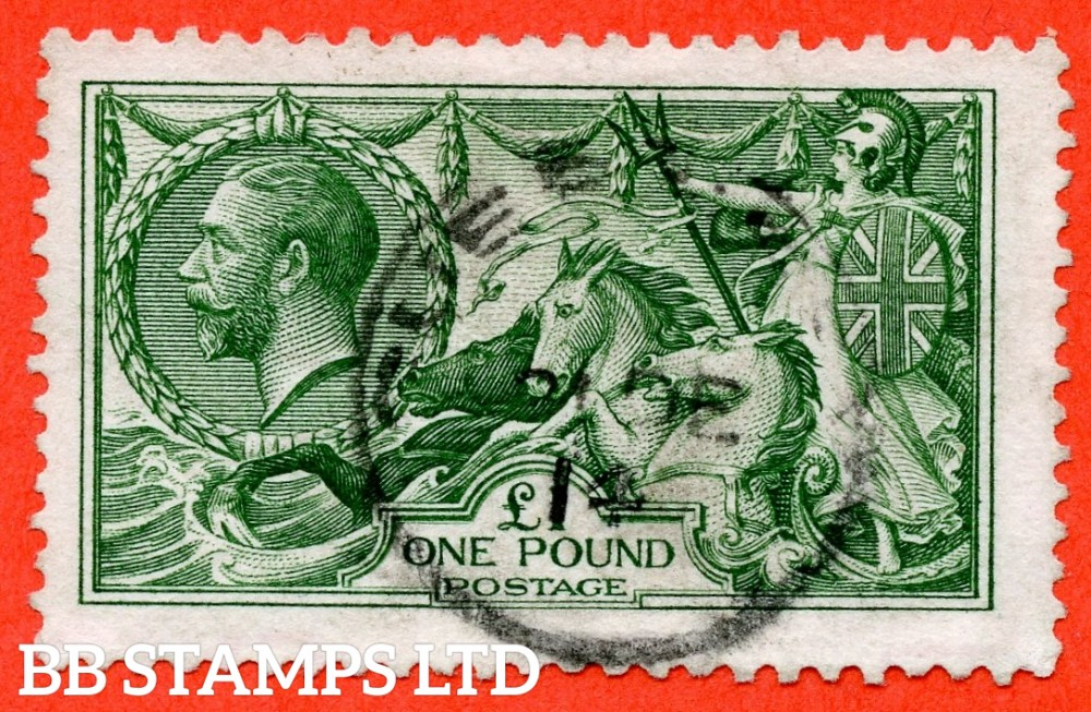 """SG. 403. N72 (1). £1.00 Green. A very fine """" December 21st 1914 """" CDS used example of this beautiful George V high value."""