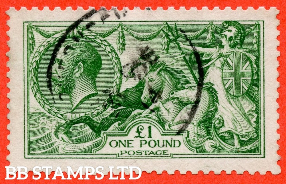 """SG. 403. N72 (1). £1.00 Green. A fine """" December 1914 GUERNSEY """" CDS used example of this beautiful George V high value."""
