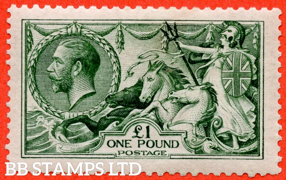 SG. 404. N72 (3). £1.00 Dull blue green. A very fine mounted mint example of this beautiful George V high value.